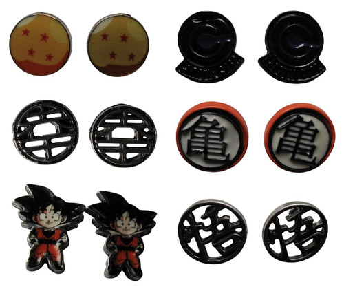 Dragon Ball Z Characters Icons 6 Pair Earrings Set