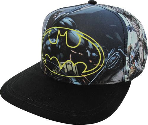 Batman Logo Sublimated Panels Snapback Youth Hat
