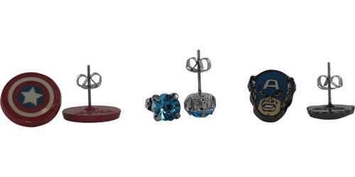 Captain America Logo Face Stud 3 Pair Earrings Set