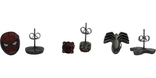 Spiderman Logo Mask Stud 3 Pair Earrings Set