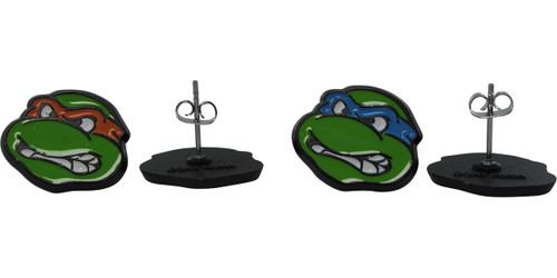 Ninja Turtles Mike Leo Heads Stud Earrings