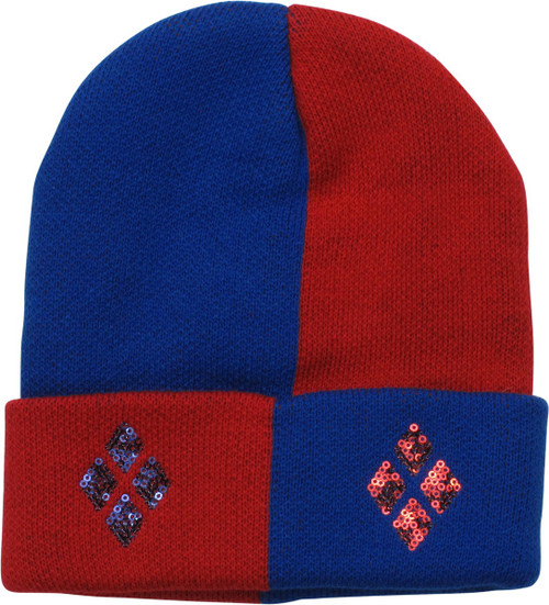 Harley Quinn Red Blue Sequin Cuff Beanie