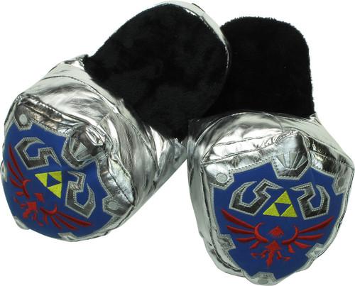 Zelda Hylian Shield 3D Plush Silver Slippers