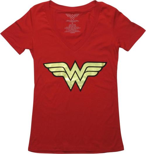 Wonder Woman Foiled Logo V-Neck Juniors T-Shirt