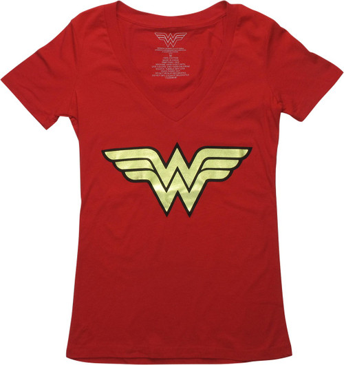 Wonder Woman Foiled Logo V-Neck Juniors T-Shirt