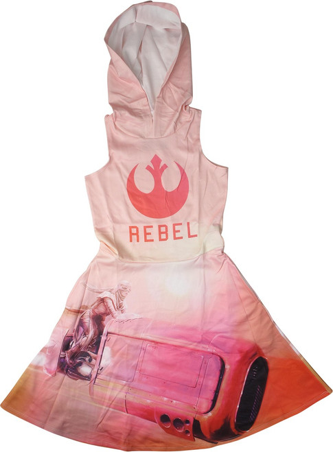 Star Wars Rebel Logo Rey Hooded Sleeveless Dress