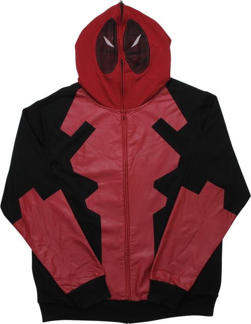 Deadpool Under Costume Face Mask Zip Hoodie