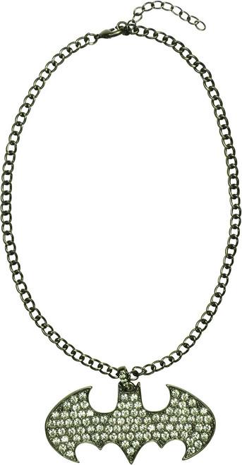 Batman Logo Rhinestone Metal Necklace