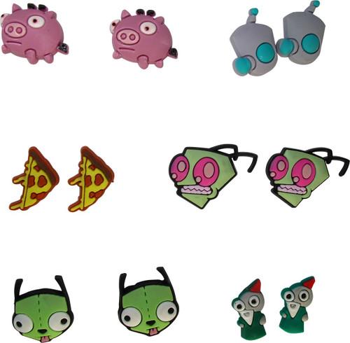 Invader Zim Character Heads 6 Pair Earrings Set