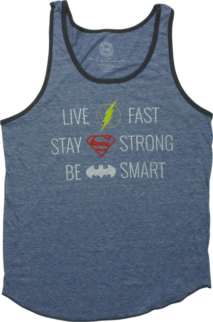 Justice League Fast Strong Heather Royal Tank Top