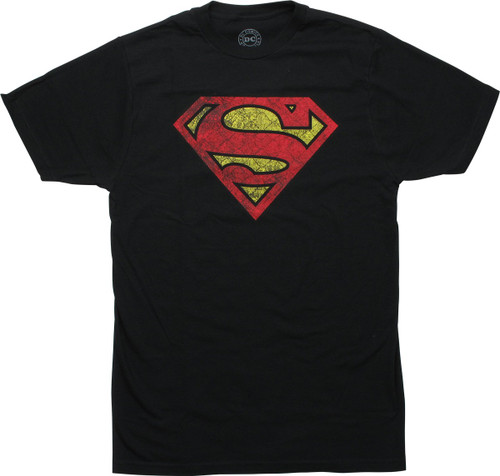 Superman Textured Logo Black T-Shirt
