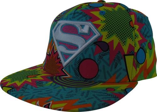 Superman Retro 1980s Colors Explosion Snapback Hat