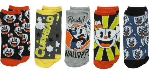 Cuphead and Mugman Ready 5 Pair Ankle Socks Set