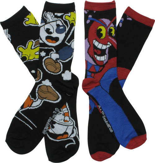 Cuphead and Beppi the Clown 2 Pair Crew Socks Set