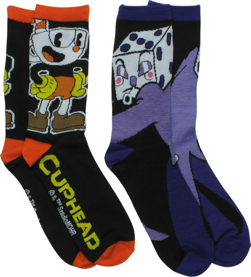 Cuphead and King Dice 2 Pair Crew Socks Set