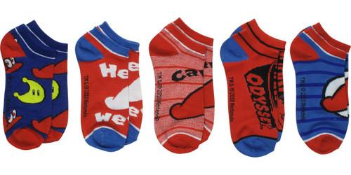 Super Mario Odyssey Hat 5 Pair Ankle Socks Set