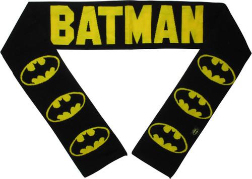 Batman Logo and Name Black Scarf