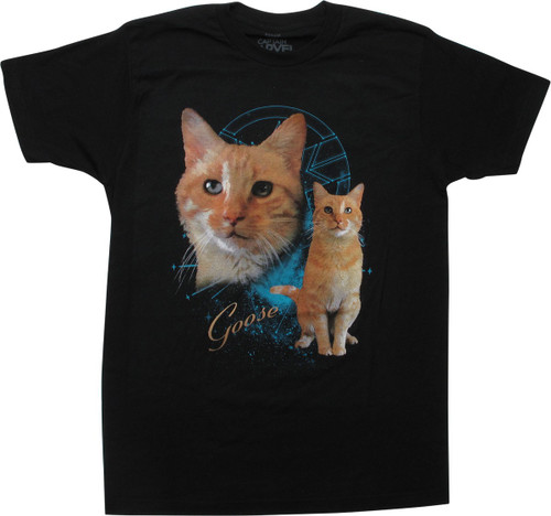 Captain Marvel Goose the Cat Black T-Shirt