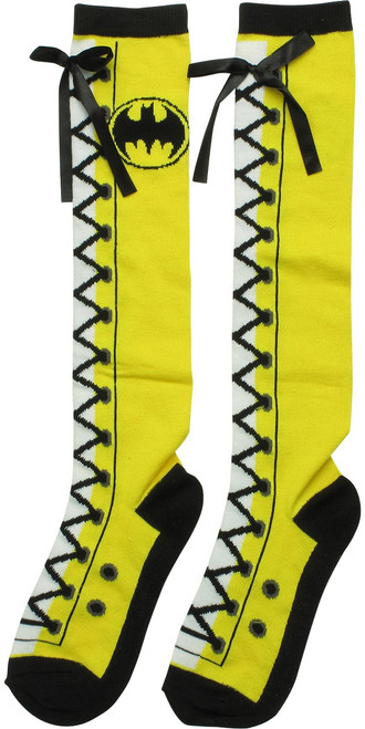 Batman Logo Faux Lace Knee High Socks