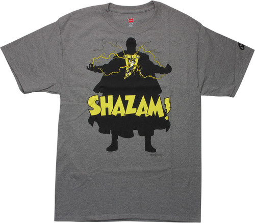 Shazam Name Silhouette Gray T-Shirt