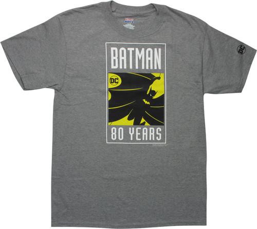 Batman 80 Years Silhouette Logo Gray T-Shirt