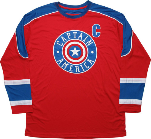 Captain America Shield Logo Captains Hockey Jersey