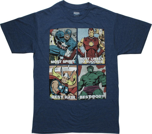 Avengers Year Book Squares Heather Navy T-Shirt