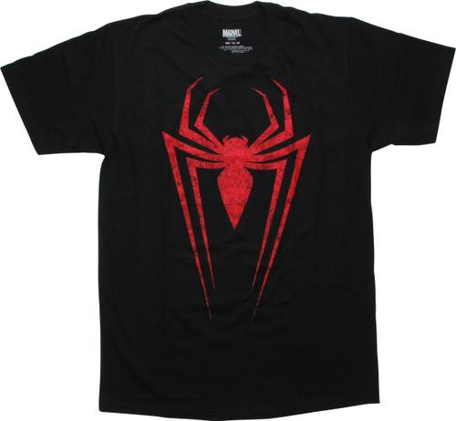 Spiderman Red Logo Black Distressed T-Shirt