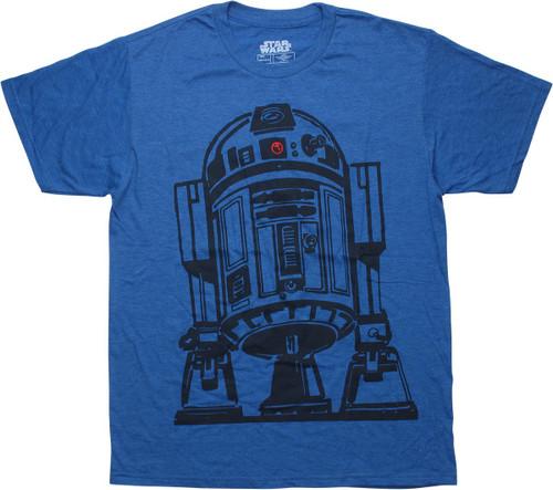 Star Wars R2-D2 Outline Heather Blue T-Shirt