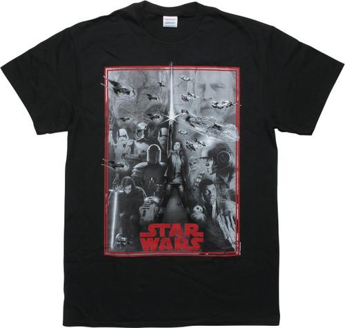 Star Wars Last Jedi Montage Black T-Shirt