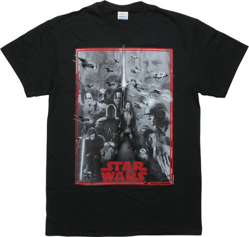 Star Wars Last Jedi Montage Black T-Shirt