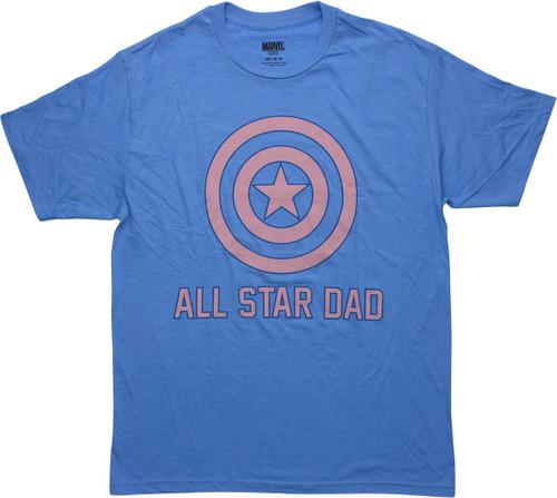 Captain America Shield All Star Dad T-Shirt