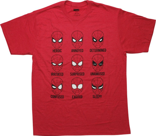 Spiderman Expressions Heathered Red T-Shirt