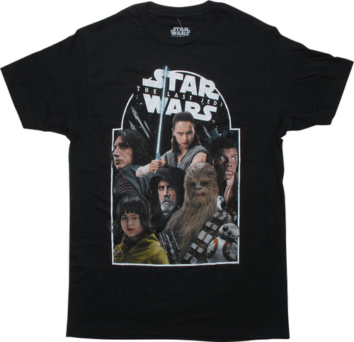 Star Wars Last Jedi Stars Black T-Shirt