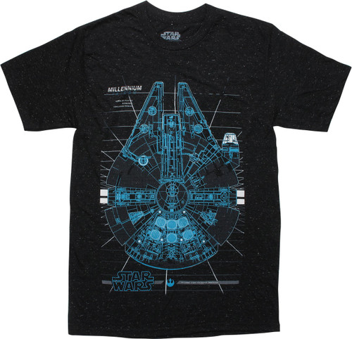 Star Wars Falcon Blueprint Design Specs T-Shirt