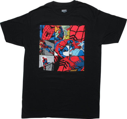 Spiderman Comic Panels Black T-Shirt