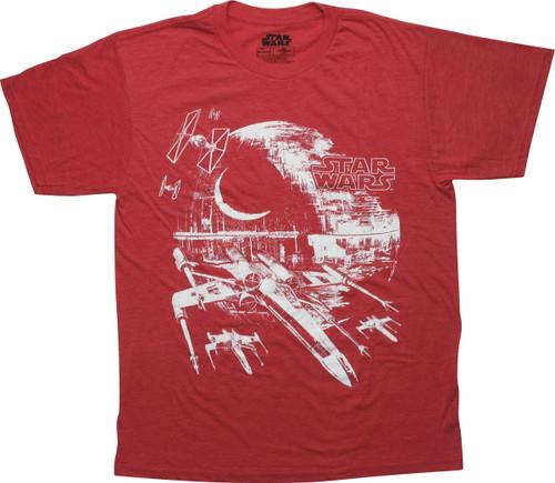 Star Wars Second Death Star Heathered Red T-Shirt