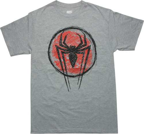 Spiderman Cross-Hatched Logo Gray T-Shirt