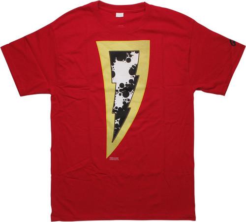 Shazam New 52 2019 Logo Name on Back Red T-Shirt