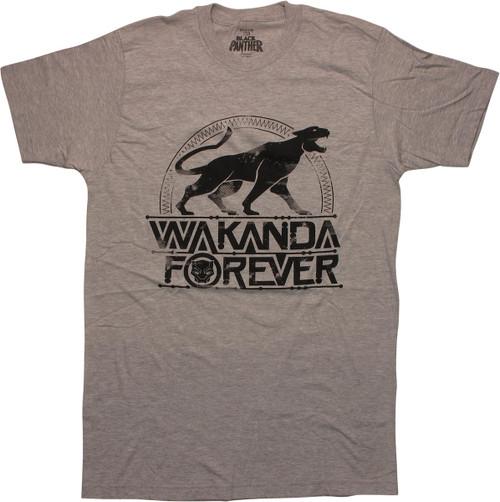 Black Panther Wakanda Forever Gray T-Shirt