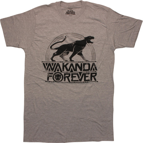 Black Panther Wakanda Forever Gray T-Shirt
