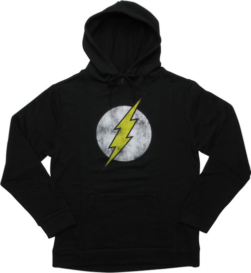 Flash Symbol Distressed Pullover Black Hoodie
