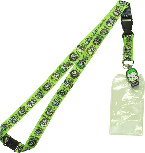 Suicide Squad Skull Characters Charm Lanyard