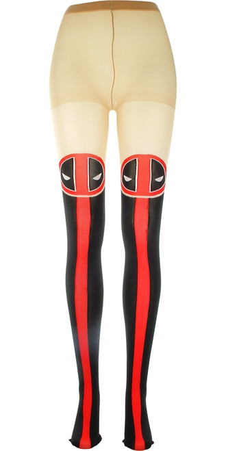 Deadpool Logo Front Stripe Footed Tights