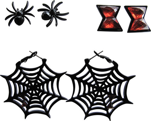 Black Widow Logos 3 Pair Earrings Set