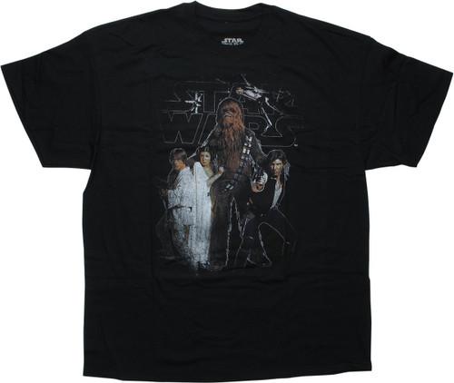 Star Wars Hero Group Distressed Black T-Shirt