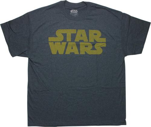 Star Wars Yellow Title Heathered Navy T-Shirt