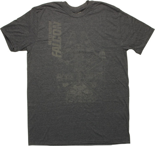 Star Wars Millennium Falcon Blueprint Navy T-Shirt