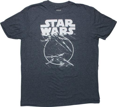 Star Wars X-Wings in Space Heathered Navy T-Shirt