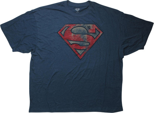 Superman Distressed Logo Heathered Blue T-Shirt